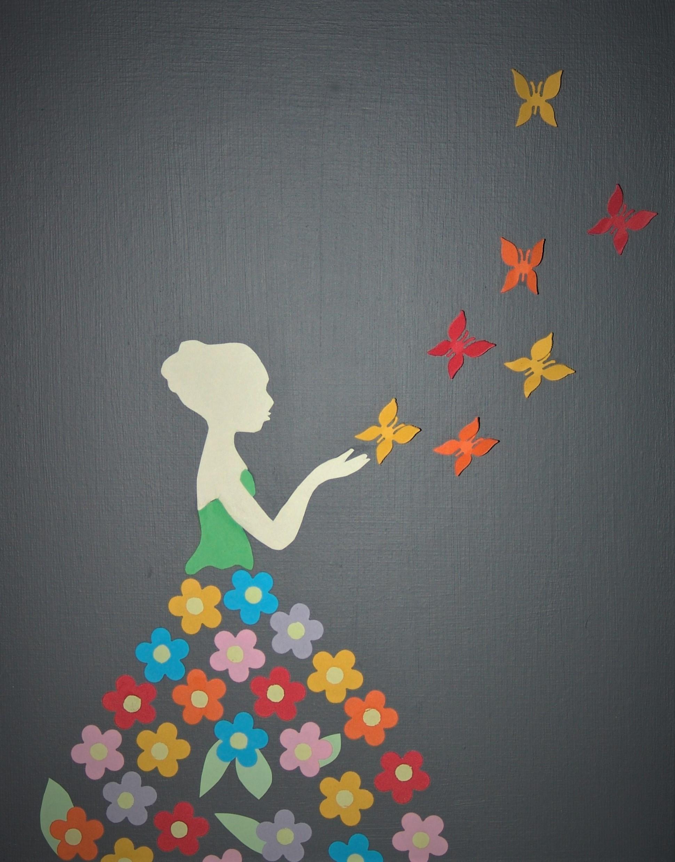VENDU Jeune femme aux papillons Image